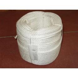 Cordage en Polypropylène Cablé Ø 6 mm, Blanc, 3 torons, Traité 200KLYS, bob 100m