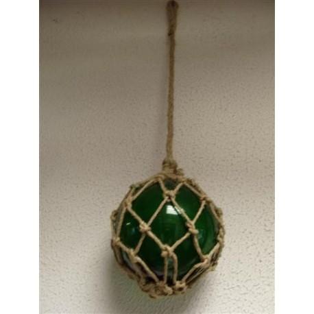 Boule de décoration Verte avec Filet en Jute