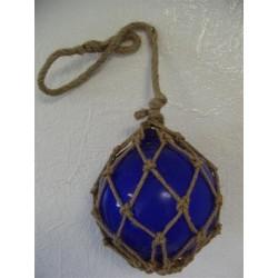 Boule de décoration Bleue avec Filet en Jute