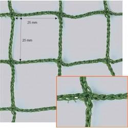 Filet Pare-Ballons, Mailles 25 mm, Ø 2,5 mm, vert, équipé d'une ralingue périphérique